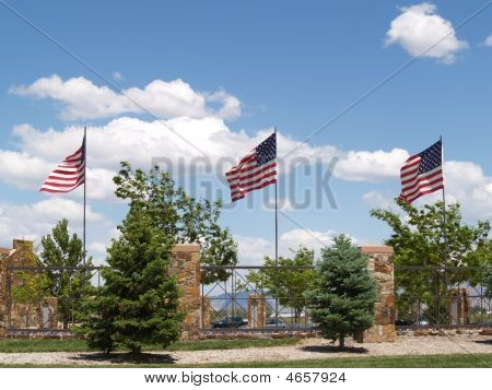 American Flags At War Memorial