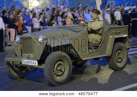 SEVASTOPOL, UKRAINE - MAY 7: Retro car of World War II on the rehearsal of military parade in honor of Victory Day in Sevastopol, Crimea, Ukraine on May 7, 2013