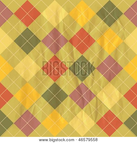 Seamless background template with rhombus on a crumpled paper. Eps10