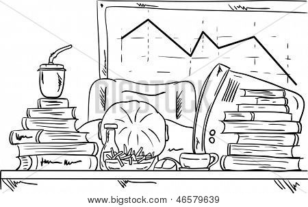 vector - a tired businessman sleeping on his desk