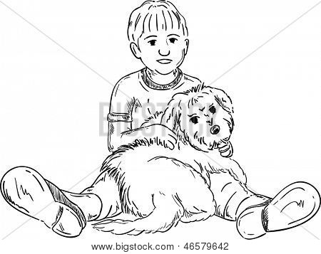 vector - happy little boy playing with his puppy