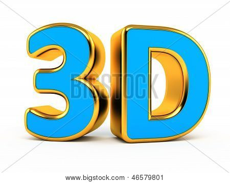 """3d"" blue with gold symbol"