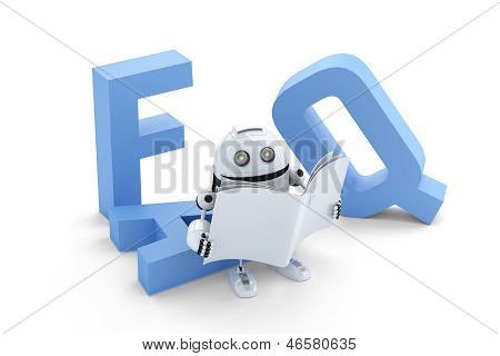 Robot Sitting On 3D Faq Sign
