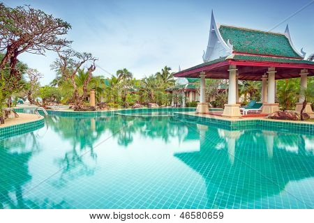 KOH KHO KHAO, THAILAND - NOV 5: Oriental Architecture of Andaman Princess Resort & SPA. Hotel was destroyed by tsunami in 2004 and rebuild, Koh Kho Khao island, Phang Nga in Thailand on Nov. 5, 2012.