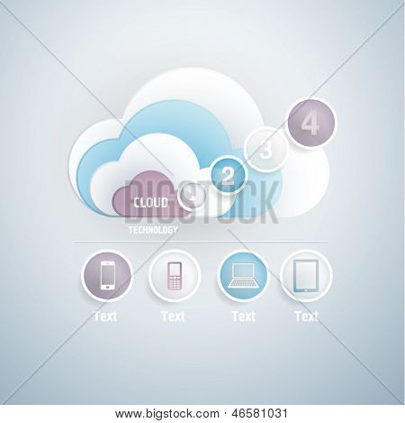 Cloud with numbers concept. Mobile icons for infographics