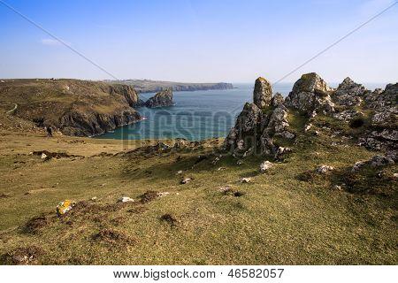 Kynance Cove cliffs landscape looking across bay