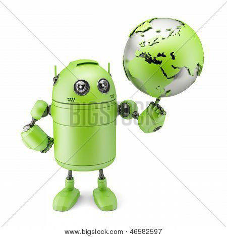 Robot Inspecting A Globe