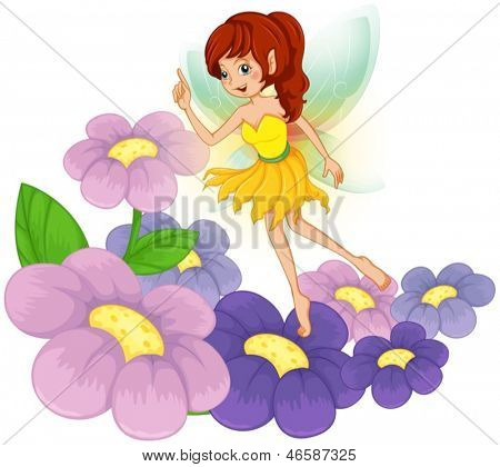 Illustration of a fairy at the garden with fresh flowers on a white background