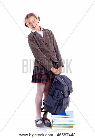 portrait of cheerful schoolgirl