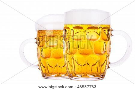 Frosty Glass Of Light Beer Isolated
