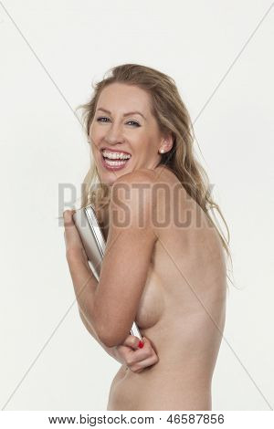 Vivacious Laughing Topless Woman