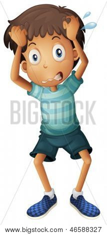 Illustration of a boy scratching his head on a white background
