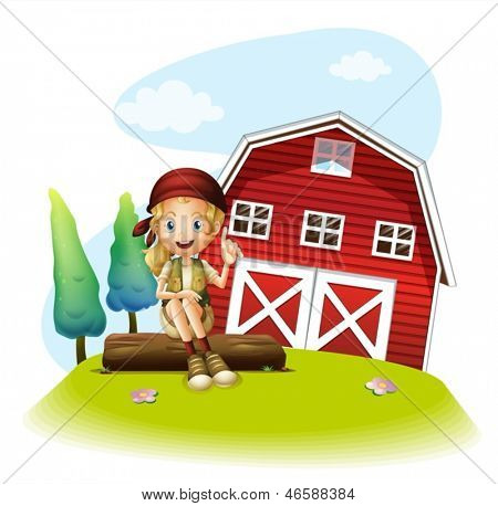 Illustration of a girl sitting in front of a red barnhouse on a white background