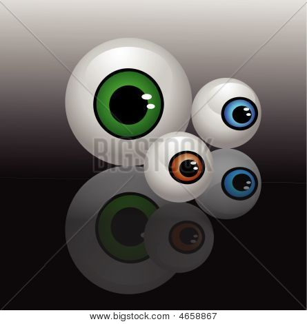 Eyeballs Isolated Vector Illustration Background