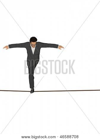 High resolution concept or conceptual 3D human male or businessman walking on rope isolated on white vertical background