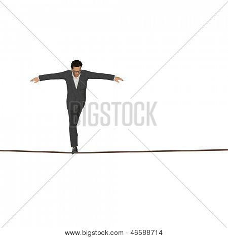 High resolution concept or conceptual 3D human male or businessman walking on rope isolated on white square background