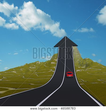 Concept or conceptual 3D red car on arrow road pointing up,upward over a mountain to sky square background