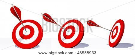 High resolution concept or conceptual red dart targets set or collection boards with an arrow in the center isolated on white background