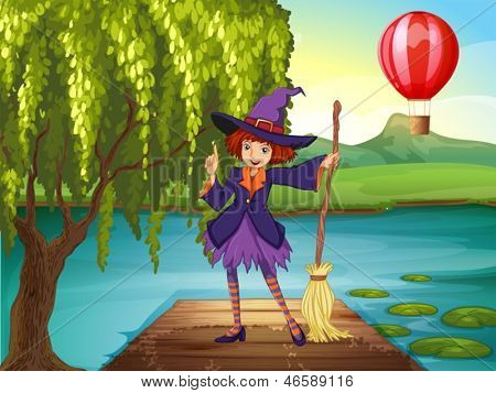 Illustration of a witch holding a broom standing at the port