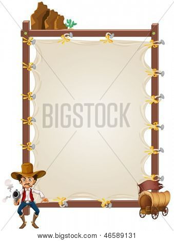 Illustration of an empty framed banner with a cowboy and a wagon on a white background