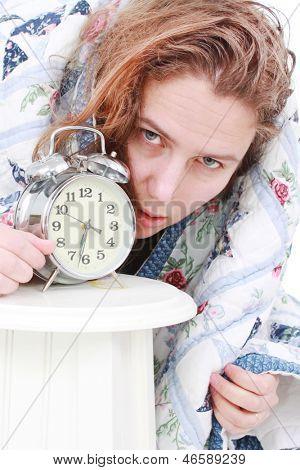 Woman who hates her alarm clock