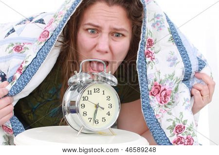 Woman who hates her alarm clock