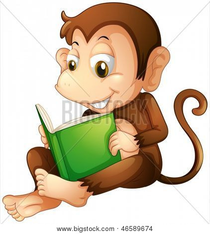 Illustration of a monkey sitting while reading a book on a white background