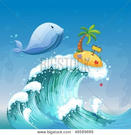 Illustration of a high wave with a dolphin and an island with an arrowboard