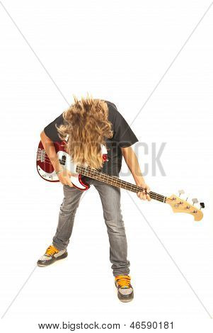 Bassist Teen Boy With Guitar