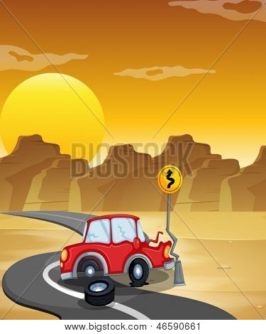 Illustration of a red car having an accident at the road