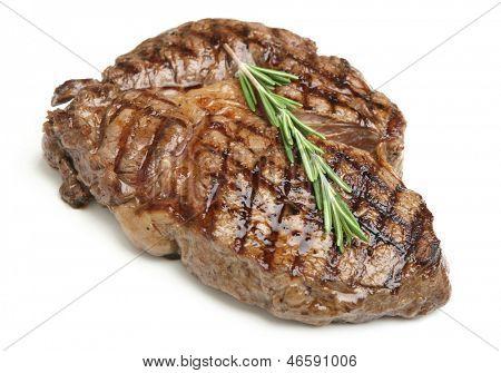 Cooked rib-eye steak
