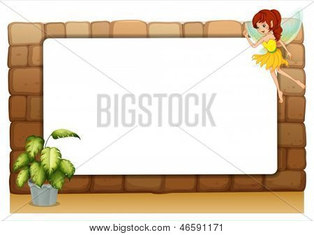 Illustration of a blank board on a wall with a fairy and a pot of plants on a white background