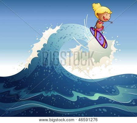Illustration of a girl surfing with big waves