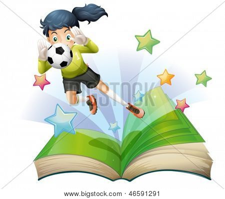 Illustration of a book with an image of a female football player on a white background