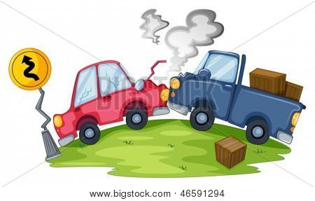 Illustration of a car accident near the yellow signage on a white background