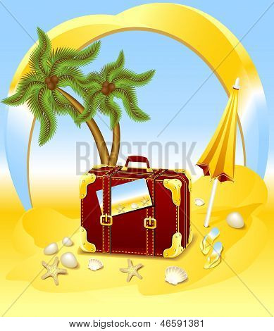 Suitcase for summer at the beach
