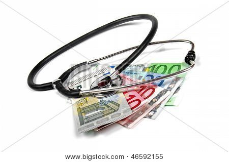 Stethoscope And Euro Money Banknotes