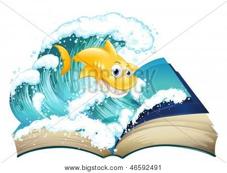 Illustration of a book with an image of a shark and a wave on a white background