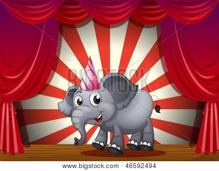 Illustration of an elephant wearing a party hat at the stage