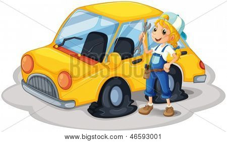 Illustration of a girl holding a tool beside a car with flat tires on a white background