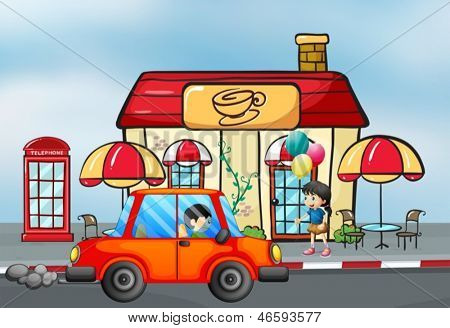 Illustration of an orange car in front of the coffee shop