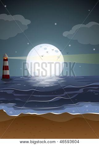 Ilustración de una playa con un faro y una luna llena
