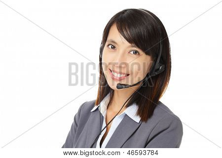 Asian business customer service woman with headset