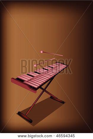 A Retro Xylophone On Dark Brown Background