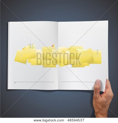 Yellow Post-it Inside A Book. Vector Design