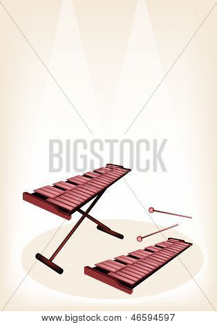 Two Retro Xylophone On Brown Stage Background