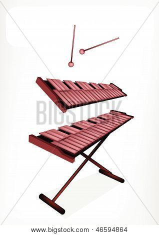 Two Retro Xylophone With A White Banner