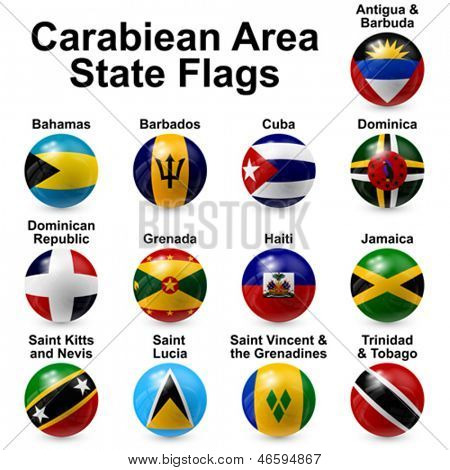 Caribbean area state flags