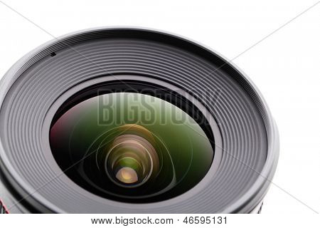 Camera lense over white background