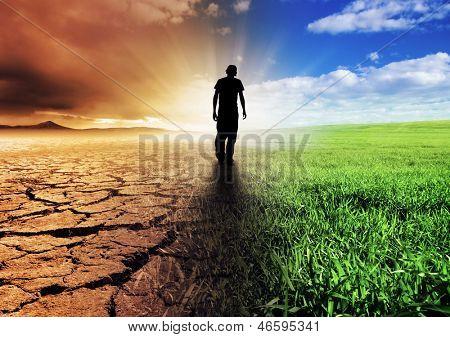 Uma imagem de conceito de mudança de clima